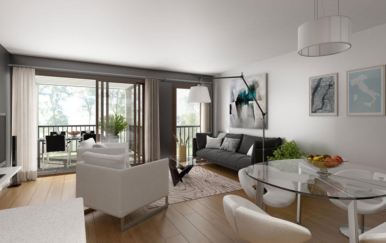 Fidexi - Résidence en Nue-propriété à Nantes - Les Terrasses Botaniques - Perspective intérieure