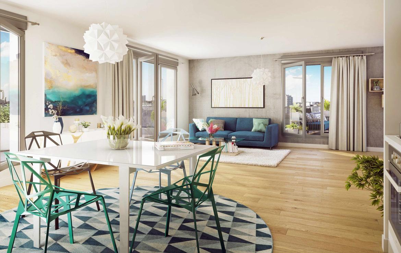 Fidexi - Résidence en Nue-propriété à Rennes - Trio Verde - Perspective intérieure