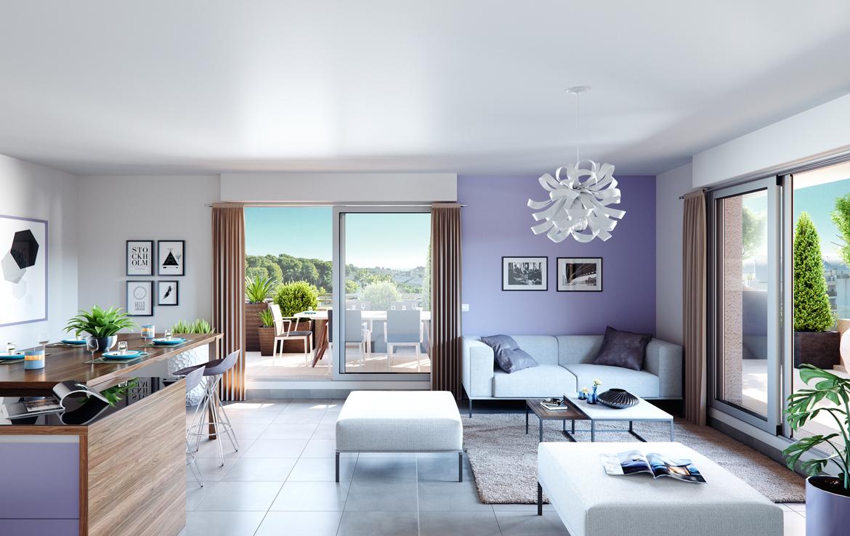 """Nue propriété à Antibes, perspective résidence """"Anthéa Garden"""" - intérieur"""