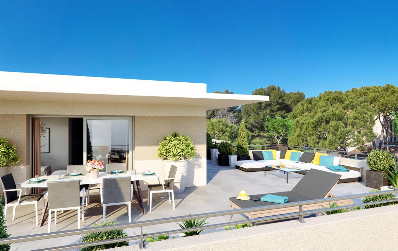 "Nue propriété à Antibes, perspective résidence ""Anthéa Garden"" - terrasse"
