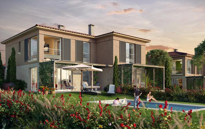"""Perspective avec piscine de la résidence en Nue-propriété """"Only Roc"""" à Roquebrune-sur-Argens"""